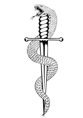 serpiente cobra: ilustración de la serpiente y la daga Vectores