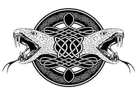 Natter: Das Bild der Kopf der Schlange und keltischen Mustern