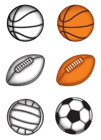 pelota rugby: La imagen de las bolas de fútbol, ??voleibol, rugby, baloncesto, con efectos a medio tono
