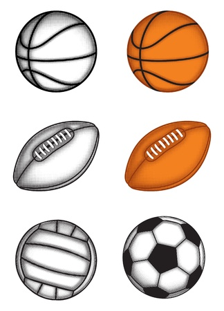 grunge football: The image of balls for football, volleyball, rugby, basketball with effect halftone