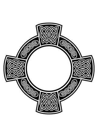 celtic culture: The image Celtic cross with framework Illustration