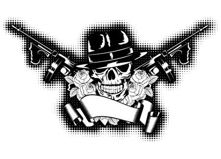 gangster with gun: Gangster Ilustraci�n, rosas, ametralladora y una bandera