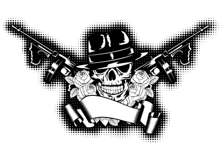 Illustration gangster, roses, submachine gun and banner Vector
