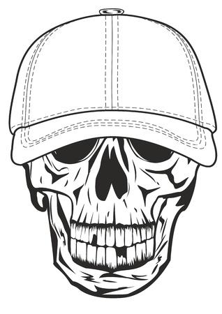 gangster with gun: Image skull in baseball cap