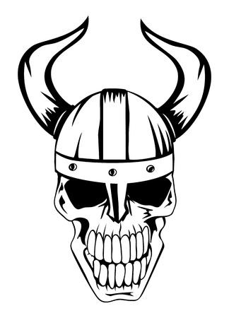 vikings: L'image d'un cr�ne dans un casque antique des Vikings