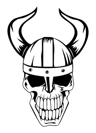 warrior tribal: The image a skull in an ancient helmet of Vikings