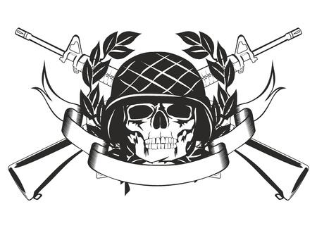 Het beeld schedel in de militaire helm, stak machinepistool, krans en banner