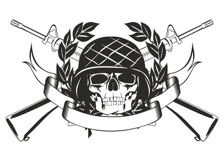 The image skull in the military helmet, crossed submachine gun, wreath and banner Vector