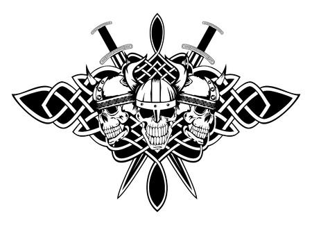 vikingo: El cráneo de la imagen en un casco antiguo de patrones de vikingos y celtas