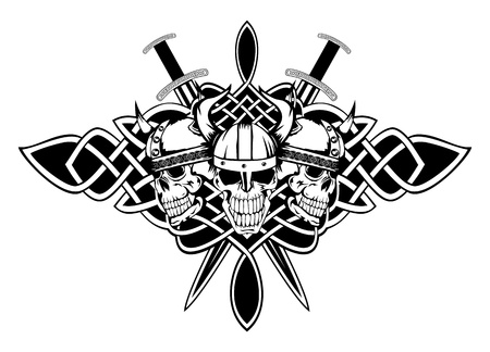The image skull in an ancient helmet of Vikings and Celtic patterns  Vector