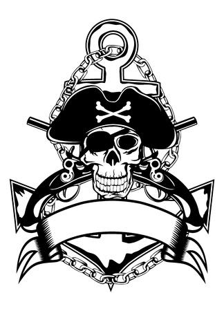 El vector de imagen del cráneo de la piratería de un ancla y pistolas cruzadas