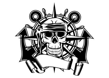gangster with gun: El vector de imagen del cr�neo de la pirater�a y el volante