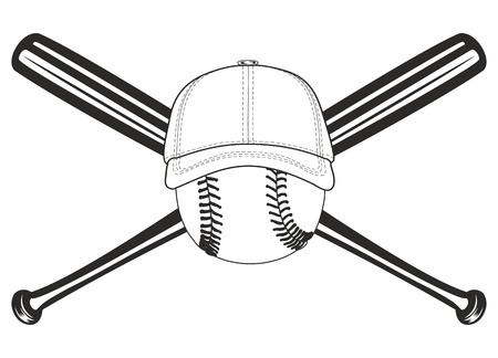 baseball stadium: The vector image of baseball ball and crossed baseball bats