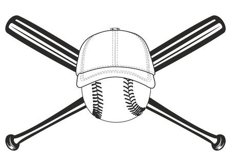 baseball pitcher: The vector image of baseball ball and crossed baseball bats