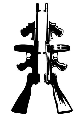 gangster with gun: El vector de imagen de la pistola ametralladora g�ngster Vectores
