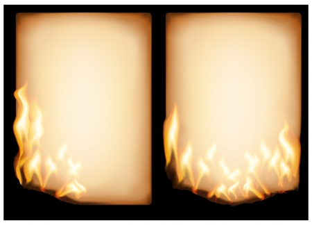 burning paper: The vector image of  burning old paper