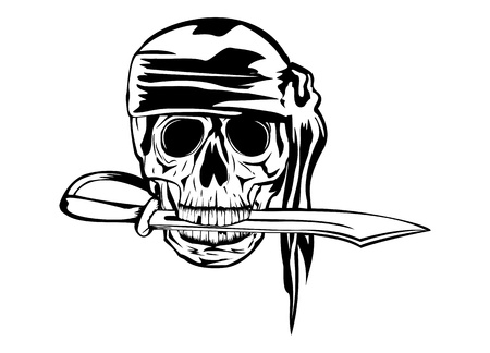 piracy: Vector image pirate in banadana with dagger