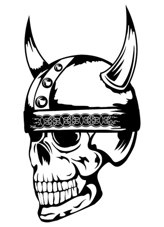 The vector image a skull in an ancient helmet of Vikings  Stock Vector - 13751318