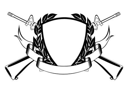 escudo militar: La imagen de la estructura, cruzar metralleta corona, y la bandera