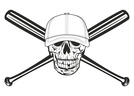 The image skull in baseball cap and crossed bats Vector