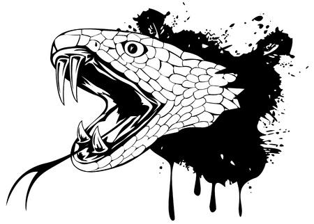 serpiente de cascabel: ilustración de cabeza de serpiente