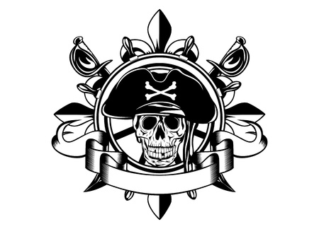 The image of piracy skull and steering wheel