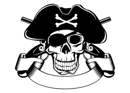 sombrero pirata: La imagen del cráneo piratería Vectores