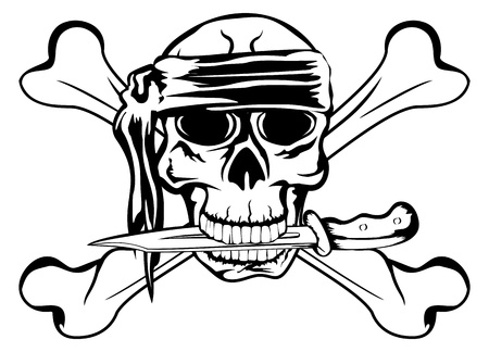 image pirate with dagger and crossbone Vector