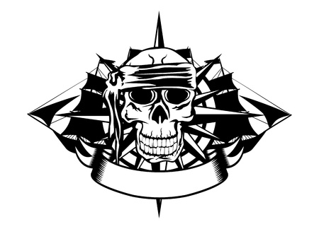 The vector image of piracy skull and ships Vector
