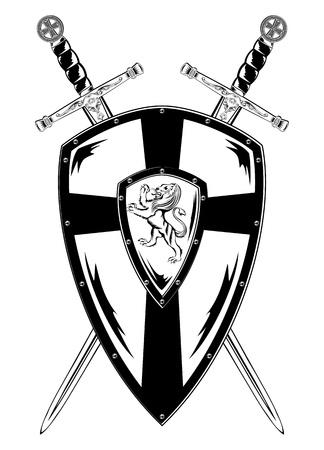 espadas medievales: Vector ilustraci�n de la Junta y las espadas cruzadas