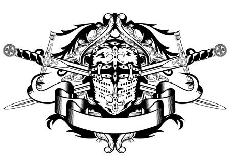 caballero medieval: Ilustración del vector espadas cruzadas y el casco Vectores