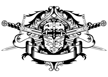 Vector illustration crossed swords and helmet