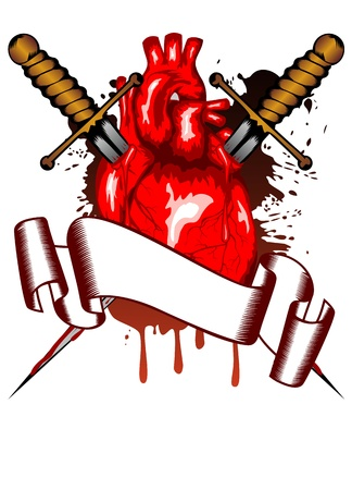 dagger tattoo: Vector illustration of human heart pierced by two daggers Illustration
