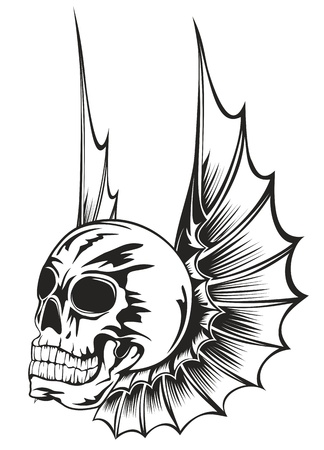 Vector illustration human skull with wings Vector