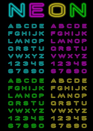 Vector letters and figures with effect neon Illustration