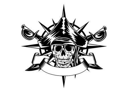 The vector image of  piracy skull and wind rose Illustration