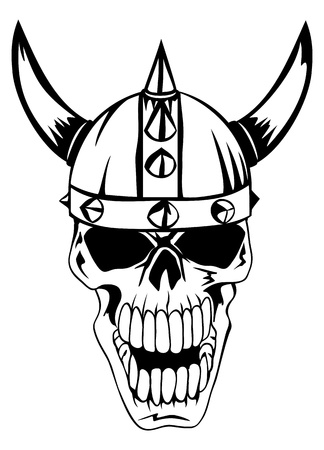 warrior tribal tattoo: The vector image a skull in an ancient helmet of Vikings  Illustration