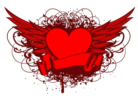 Vector illustration wings and heart