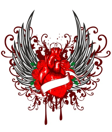 roses and blood: Vector illustration of heart of wings and rose Illustration