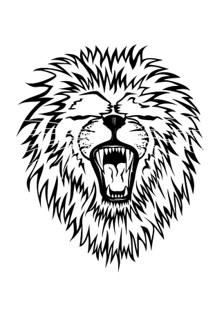 Vector illustration growling lion Vector