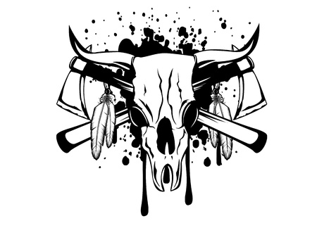 tomahawk: Vector illustration skull bull and crossed axes