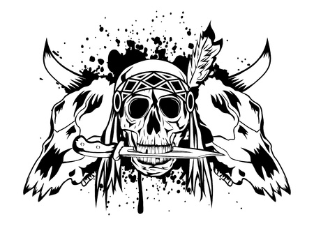 bull head: Vector illustration skulls bull and skull Indian