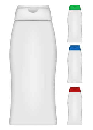 Vector illustration of  bottle of shampoo of different colours