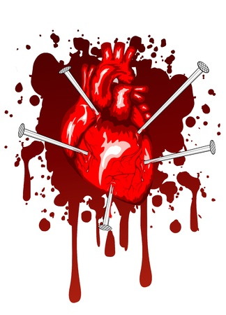 corazon: ilustración de corazón humano atravesado por clavos Vectores