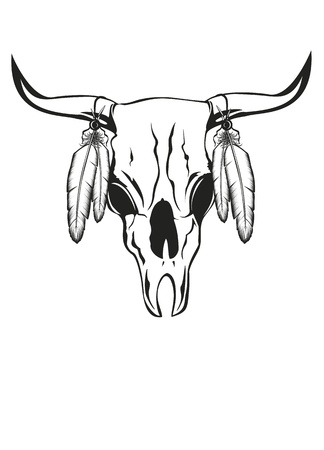 bull head: illustration skull bull with feathers