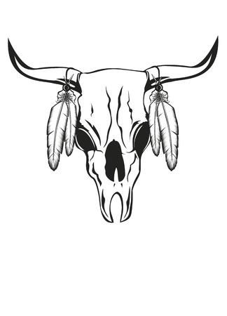 toros bravos: la ilustración del cráneo de toro con plumas