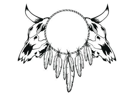 illustration skulls bull and tambourine Vector
