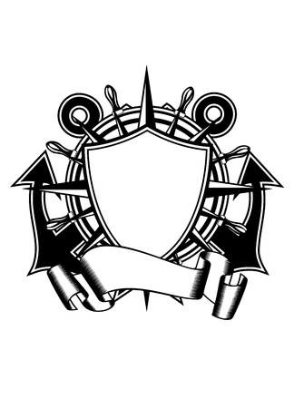 illustration crossed anchors and steering wheel Vector