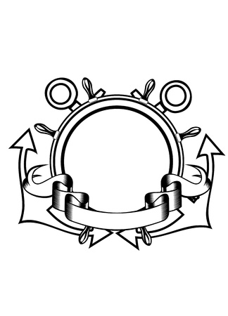 heraldry: Vector illustration crossed anchors and steering wheel Illustration