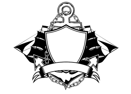 ship sign: Vector illustration anchor and ship